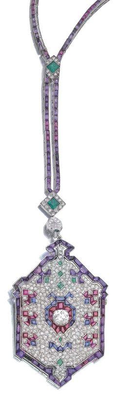 Detail: Art Deco diamond amethyst sapphire ruby emerald platinum ladybug sautoir. Circa 1920's