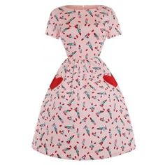 'Brittany' Pink Lipstick Print Loveheart Swing Dress