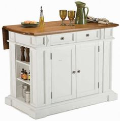 We've heard it all:small kitchens cannot accommodate kitchen islands.Shown here is a small kitchen island from Edenton Kitchen Island by Home Styles.At 48 long by 25 deep, this is as close to a real kitchen island you will get in a small kitchen.