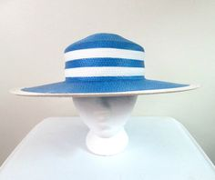 Wide Brim Straw Hat Blue and White by looseendsvintage on Etsy
