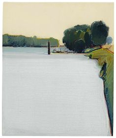 Wayne Thiebaud (American, b. 1920), River Levee and Dock, 1966. Oil on canvas, 30.5 x 25.1 cm.