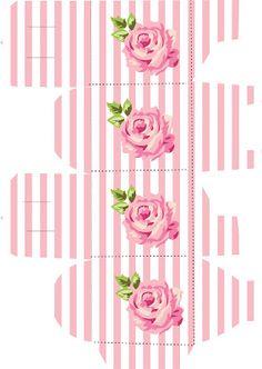 Pink box with roses Diy Paper, Paper Crafts, Printable Box, Printables, Creative Box, Box Patterns, Diy Gift Box, Craft Box, Paper Dolls
