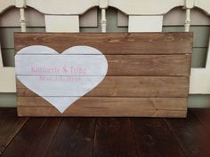 Handpainted wood barn stain Wedding Guest book sign with heart and personalized name and date on Etsy, $70.00