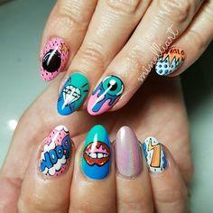 Pop Art Nails, Drip Nails, Gel Nails, Funky Nail Art, Funky Nails, Best Acrylic Nails, Acrylic Nail Designs, Fabulous Nails, Perfect Nails