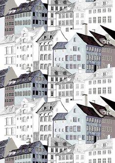 Kobenhavn-valmisverhon kaupunkikuosi on Vallilan suunnittelija Riina Kuikan suunnittelema. kaupunkimaisema verho