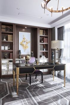 Fresh & Off Beat Home Office Design Ideas that's going to allow you to work from home in a stylish way. Inspire yourself with these modern Home Office decor Home Office Space, Home Office Desks, Office Spaces, Work Spaces, Small Office, Office Interior Design, Office Interiors, Office Designs, Office Ideas