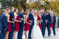Cranberry and Navy wedding party for Fall wedding