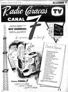 Publicidad del inicio de las transmisiones del canal 7 Radio Caracas Televisión. Publicado el 15 de noviembre de 1953.