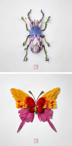 In his series, Natura Insects, experimental artist Raku Inoue crafts floral arrangements that look like beautiful bugs.