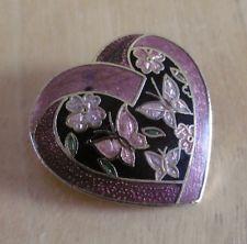 Vintage Goldtone & Cloisonne Enamel Flower & Butterfly Heart Brooch
