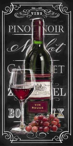 Chalkboard Sign Vin Rouge by Chad Barrett Vintage Wine, Vintage Labels, Vintage Ideas, Vintage Prints, Vintage Posters, Chad Barrett, Foto Transfer, Chalk Lettering, Typography Art