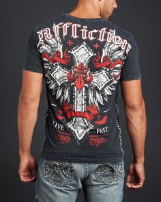 Affliction Clothing Men's Fast Lane Short Sleeve V-Neck Tee Shirt in Black