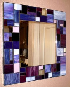 Mosaic Stained Glass Mirror in Purple and by 2ndTimeAroundMosaics, $175.00
