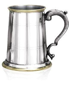 Brass Rimmed Pewter Tankard - One Pint