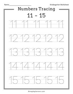Free Printable Numbers Tracing 1-20 Worksheets for Kids