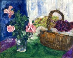 Marc Chagall (Russian, 1887 - 1985)  Still Life with Flowers and Fruit Basket ca 1929