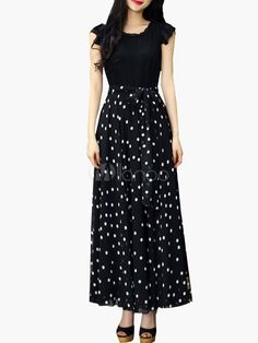 White Maxi Dress Polka Dot Sash Chiffon Dress