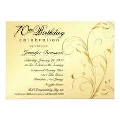 70th Birthday Party Invitations Gold With Monogram