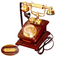 """ANTIQUE BRASS OLD TELEPHONE """"CHICAGO"""" BRAND"""
