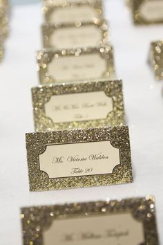 18 Sparkly Wedding Ideas That Will Make Your Big Day Shine escort cards as seen in Huffington Post. Made by GlittebyGigi glitterbygigi@gmail.com