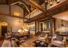 This beautiful mountain farmhouse design by Walton Architecture is located in the Martis Camp community of Truckee, California. Small Living Rooms, Living Room Decor, Living Spaces, Mountain Style, Mountain Modern, Mountain Homes, Living Room Arrangements, Contemporary Home Decor, Farmhouse Design