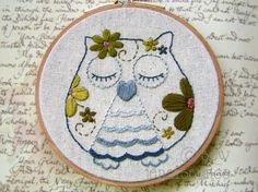 Embroidery Pattern PDF Flower Power Owl. $5.00, via Etsy. DARLING patterns to buy and download.