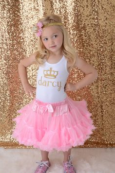 Personalized Princess Crown Shirt, Girls Gold Glitter Birthday Shirt, Gold Sparkle Shirt