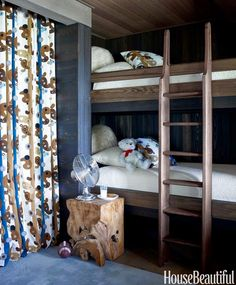 Susan Ferrier - Adorable boy's bunk room features navy and brown patterned drapes alongside pine walls and bunk beds with ladder over blue carpet topped with a stump side table. Room, Kids Room Design, Cozy Cottage, Lake House, Beautiful Homes, Country Boys Rooms, Dark Walls, Bunk Room, Pine Bunk Beds