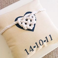 tied the knot pillow with wedding date! too cute. would make a great throw pillow for the master bedroom or living room couch. #love