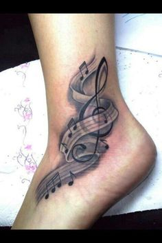 Musical notes.... Love this tattoo, but it looks painful!