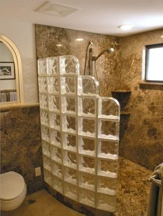 glass block shower with rounded edge Great for cabins and tight spaces where you still need the light by Shelley Wohlgemuth