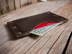 Thin Leather Wallet Mens Leather Wallet by LifetimeLeatherCo