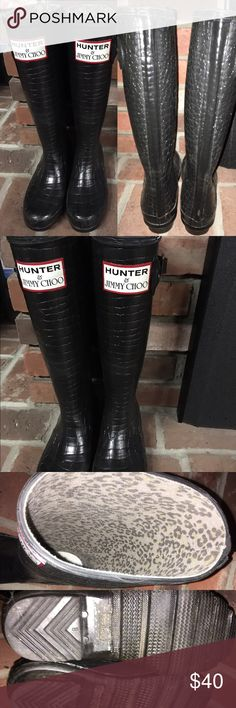 5e0de0a6bf4 Rain boots tall croco pattern Women s tall black rubber rain boots with  croco embossed pattern.