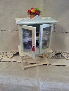 Shabby Chic Cabinet with showcase 112 by LaboratoriodiManu on Etsy, €22.00