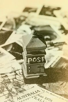 Old australia post scene with mailbox on old fashioned aussie stamps. Vintage Australian postage art by Jorgo Photography - Wall Art Gallery
