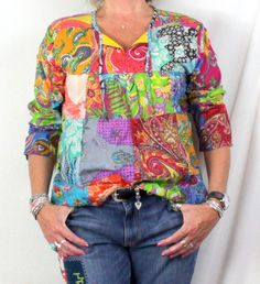 Cute Mitrd Handworks Blouse M L size New Multi Color Floral Patch Lightweight Blouse