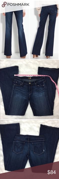 """MOTHER Jeans """"The Wilder"""" flare in Love Potion #9 MOTHER Jeans """"The Wilder"""" flare in Love Potion #9. Size 31 with 34 1/2' inseam, 8' rise, and 11' flare. Pre-owned condition with basic wear. The hems are still in great shape this just have a few wear spots from wearing heels. ❌I do not Trade 🙅🏻 Or model💲 Posh Transactions ONLY MOTHER Jeans Flare & Wide Leg"""