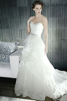 blue by enzoani #bridal 2014 hollister a line #wedding dress strapless sweetheart neckline tiered skirt #weddings #weddingdress #tieredweddingdress