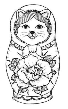 Nesting Dolls Coloring Sheet Coloring Pages Matryoshka Doll, Kokeshi Dolls, Coloring Book Pages, Coloring Sheets, Nesting Doll Tattoo, Pebeo Porcelaine 150, Black And White Abstract, Geisha, Cat Art