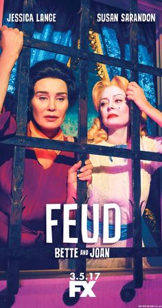 """Created by Ryan Murphy.  With Jessica Lange, Susan Sarandon, Judy Davis, Jackie Hoffman. Based on the rivalry between Bette Davis and Joan Crawford on the set of """"Whatever Happened to Baby Jane?"""""""