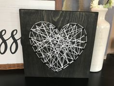 DIY String Art Wood Sign, Activity Day Girls Activity, LDS Activity Days Project, Do It Yourself String Art, Heart String Art, String Art Sign, String Art Wood Sign, How to Make String Art, String Art instructions