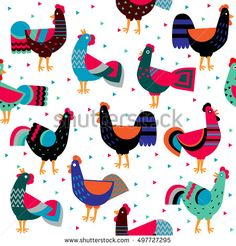 Cartoon ornamented roosters on white background. Seamless pattern for your design. Decorative cocks, symbol 2017 by the Chinese calendar. Ornamented roosters, singing roosters, cocks in various poses.