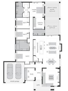 Monte Carlo Executive Elite - with rear activities floor plan New House Plans, Dream House Plans, Small House Plans, House Floor Plans, Australian House Plans, Australian Homes, Mcdonald Jones Homes, House Ideas, Apartment Plans