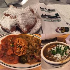 New Orleans Dinner. #NewOrleans #chickenAndouille #Gumbo #ShrimpCreole #Jambalaya #CrawfishEtouffe and those delicious #Beignet donuts from Cafe Du Monde. #FrenchQuarter by andylefthand