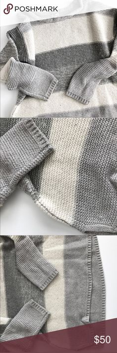 Like New Calvin Klein Chunky Knit Striped Sweater Like new thick chunky knit sweater with gray and ivory white stripes slightly oversized for a comfy slouchy look 😍 Calvin Klein Sweaters Crew & Scoop Necks