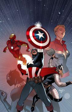 By Paul Renaud Avengers Captain America Marvel Ms Marvel, Marvel Comics Art, Captain Marvel, Cosmic Comics, Avengers Comics, Marvel Heroes, Captain America, Capitan America Marvel, Comic Books Art