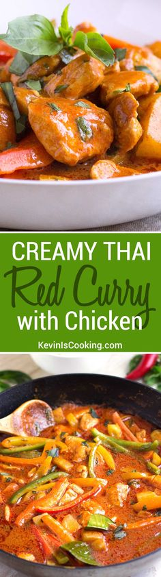 Jane Morris saved to Low calories go-to mid week meal when we're craving Thai, this Creamy Thai Red Curry with Chicken is a quick and easy stir-fry made with chicken and bell peppers. Curry Recipes, Thai Recipes, Indian Food Recipes, Asian Recipes, Chicken Recipes, Cooking Recipes, Healthy Recipes, Chicken Meals, Dinner Recipes