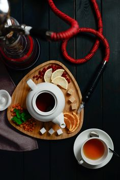 Fruit tea and a hookah - null