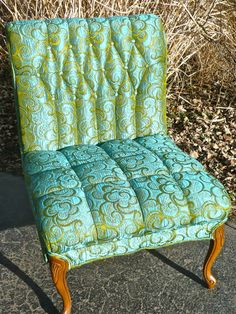 Upholstered Chair Vintage Regency Tufted Armless by CasaKarmaDecor, $395.00