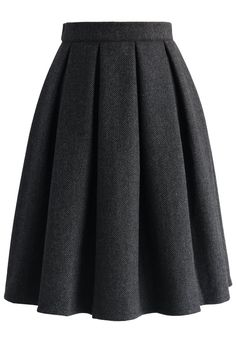 Wool-blend Pleated Twill Skirt - New Arrivals - Retro, Indie and Unique Fashion